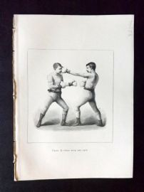 Badminton Library 1893 Antique Boxing Print. Stop With The Left